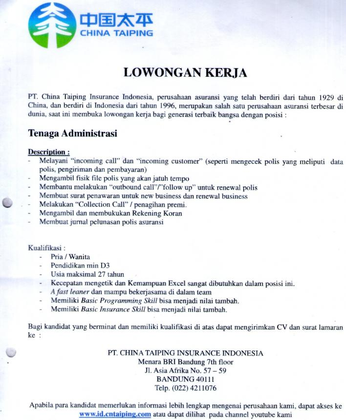 LOWONGAN PT.CHINA TAIPING INSURANCE INDONESIA